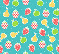 Apple, Strawberry And Pear Fruit Background Pattern. Vector Stock Images - 94357224
