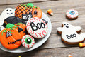 Halloween Gingerbread Cookies Royalty Free Stock Photography - 94357557