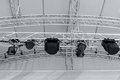 Stage Light Equipment Before Concert. Spotlights On Stage Lighti Royalty Free Stock Image - 94360216