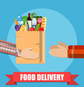 Hands Hold Food Package. Royalty Free Stock Photo - 94364155