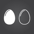 Egg Icon. Solid And Outline Versions. White Icons On A Dark Back Stock Photography - 94368642