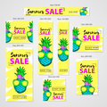 Summer Sale- Web Banners Set, Colorful Hand Drawn Pineapple With Stock Images - 94381744