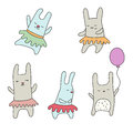 Set Of Cute Little Cartoon Hares Royalty Free Stock Photo - 94389865