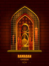 Islamic Design Mosque Door And Window For Ramadan Kareem Happy Eid Celebration Background Royalty Free Stock Image - 94391566