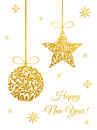Elegant Greeting Card With Golden Christmas Ball And Star Stock Images - 94398764