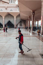 A Man Is Cleaning In Putra Mosque In Wilayah Persekutuan Putrajaya, Malaysia Stock Photography - 94407242
