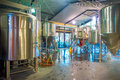SOUTH ISLAND, NEW ZEALAND- MAY 25, 2017: Modern Beer Plant Brewery , With Brewing Kettles, Vessels, Tubs And Pipes Made Stock Photo - 94418870