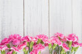 Pink Carnation Flowers On White Wood Stock Image - 94429071