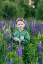 Portrait Of A Boy In A Summer Field Of Lupine Stock Photography - 94439082