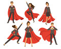 Businesswoman In Action Poses. Female Superhero Flying. Vector Illustrations In Cartoon Style Stock Image - 94441391