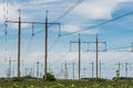 High Voltage Electric Transmission Tower Energy Pylon Stock Photo - 94447480