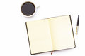 Cup Of Coffee, Open The Diary And Pen On A White Background. Minimal Business Concept Of Working Place In The Office. Royalty Free Stock Photo - 94454965