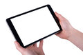 Tablet In Women Hands On A White Backgrounds Stock Image - 94479501