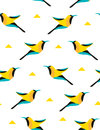 Summer Pattern With Geometric Bird And Triangles On White Background. Vector Royalty Free Stock Images - 94479689