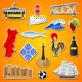 Portugal Stickers Set. Portuguese National Traditional Symbols And Objects Stock Photo - 94497270