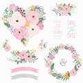 Pink Flower Heart Collections Royalty Free Stock Photo - 94505465