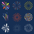 Set Of Isolated Fireworks. Brightly, Colorful And Monochrome Celebration Firework Balls Stock Photo - 94533700