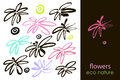 Set Of Hand Drawn Flowers, Green Leaf, Sketches And Doodles Of Pink Flowers And Plants, Flowers Vector Collection Royalty Free Stock Photo - 94540725