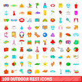 100 Outdoor Rest Icons Set, Cartoon Style Stock Photo - 94543380