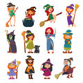 Cute Little Witch Hag Harridan Vixen With Broom Cartoon Magic Halloween Young Girls Character Costume Hat Vector Stock Image - 94548111