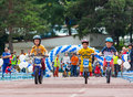 KAZAKHSTAN, ALMATY - JUNE 11, 2017: Children`s Cycling Competitions Tour De Kids. Children Aged 2 To 7 Years Compete In Stock Image - 94548301