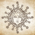 Hand Drawn Antique Style Sun With Face Of The Greek And Roman God Apollo. Flash Tattoo Or Print Design Vector Illustration Stock Images - 94555544