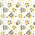 Cute Seamless Pattern With Yellow And Gray Owls Royalty Free Stock Image - 94570846
