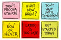 Fighting Procrastination - Set Of Motivational Notes Stock Images - 94576414