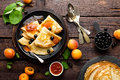 Pancakes With Fresh Blackcurrant And Apricot Jam Royalty Free Stock Photos - 94595588