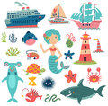 Sea Set Characters Collection Royalty Free Stock Photos - 94616178