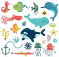 Sea Set Characters Collection Vector Royalty Free Stock Photography - 94616217