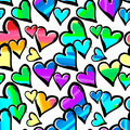 Gay Pride Rainbow Colored Hearts Seamless Pattern. Royalty Free Stock Images - 94638779