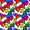 Gay Pride Rainbow Colored Hearts Seamless Pattern. Royalty Free Stock Photo - 94638935