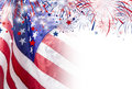 USA Flag With Firework Background For 4 July Independence Day Stock Images - 94644664