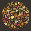 Vector Set Of Russian Food Cartoon Doodle Objects Stock Photography - 94665942