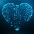 Polygonal Abstract Heart Concept Consisting Of Blue Dots And Lines. Digital Illustration. Polygonal Structure, Triangle Royalty Free Stock Image - 94690586