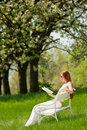 Woman Relax Under Blossom Tree In Summer Stock Photo - 9473190