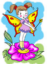 Happy Funny  Cute  Fairy Girl Standing On A Flower Stock Photography - 9474952