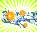 Splashing Water With Oranges Royalty Free Stock Photos - 9476488