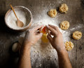 Close Up View Of Baker Kneading Dough. Homemade Bread. Hands Pre Royalty Free Stock Image - 94708236