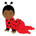 Vector African American Cute Baby Girl In Ladybug Costume Crawling. Stock Images - 94717004