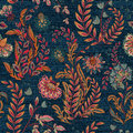 Blue Denim With Colorful Floral Print. Vector Seamless Wallpaper. Stock Image - 94722261