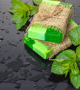 Handmade Soap Green With Mint Leaves Stock Photos - 94753853