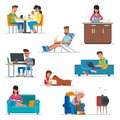 Vector Set Of Cartoon People Characters In Flat Style Design. Couple In Cafe, Woman Cooking At The Kitchen, Guy Working Royalty Free Stock Photos - 94777288