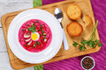 Cold Soup With Beetroot, Cucumber, Scallions, Egg Stock Photos - 94787933