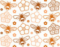 Seamless Pattern With Image Of Honey Bee And Flowers Royalty Free Stock Image - 94791006
