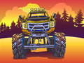 Vector Cartoon Monster Truck On The Evening Landscape In Pop Art Style. Extreme Sports. Royalty Free Stock Photos - 94792678