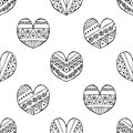 Vector Hand Drawn Seamless Pattern, Decorative Stylized Black And White Childish Hearts. Doodle Sketch Style, Graphic Illustration Stock Image - 94795181