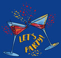 `Let`s Party!` Poster With Two Cocktails Stock Photo - 94839910