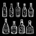 Hand Drawn Illustration Of Different Bottles Isolate On Dark Background. Vector Pictures Set Royalty Free Stock Photo - 94845995